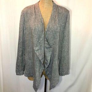 Gray Open Front Draped Herringbone Linen Jacket